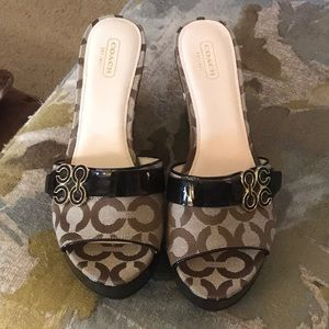 Coach Patent Leather Logo Wedge Sandals